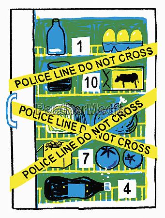unhealthy fridge as crime scene