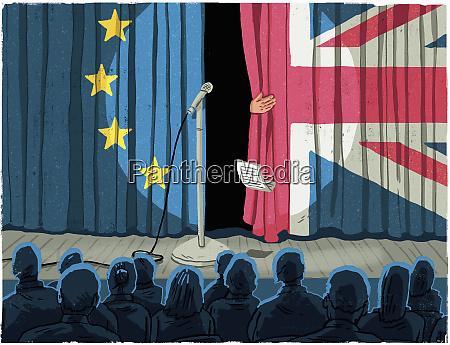 politician leaving stage through european union