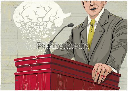 politician making speech with crumbling speech