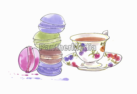 watercolour painting of macaroons next to