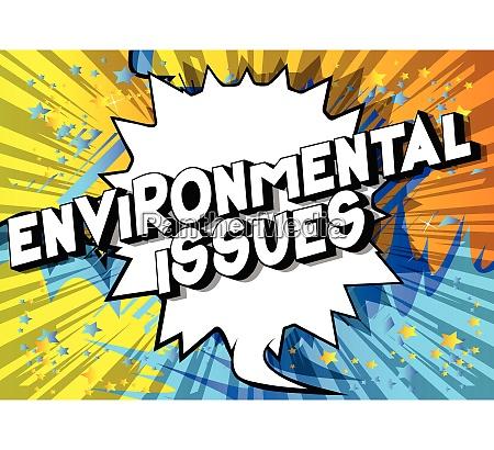 umweltfragen comic buch stil phrase