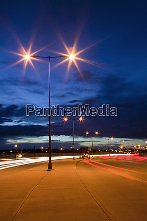 street lights and traffic at dusk
