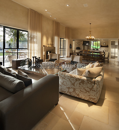 luxury living room and dining room