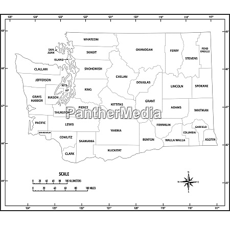washington state outline administrative and political