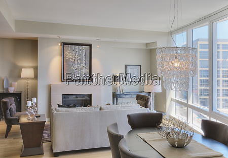 luxury living room in highrise apartment