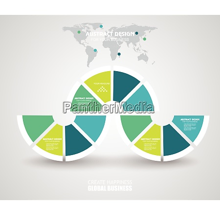 business infographics in circle segments origami