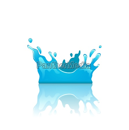 illustration blue water splash crown with