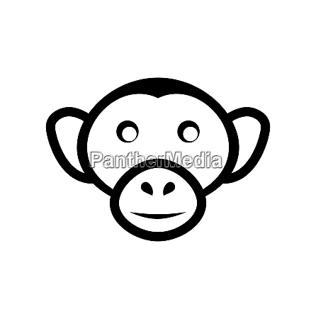 illustration icon monkey head isolated on