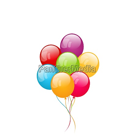 illustration bunch colorful balloons isolated on
