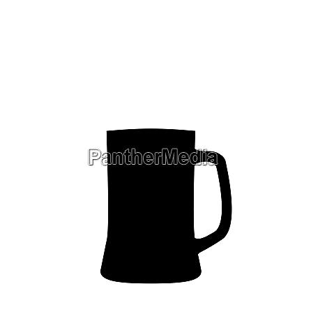 illustration schwarze silhouette bierbecher isoliert auf