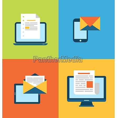 illustrationskonzept des e mail marketings ueber
