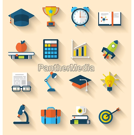 illustration flat icons of elements and