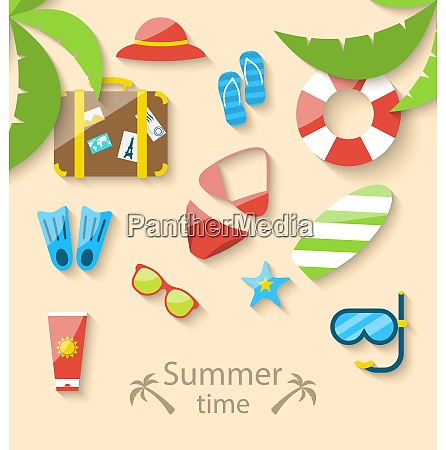 illustration sommerferienzeit mit flachem set bunte