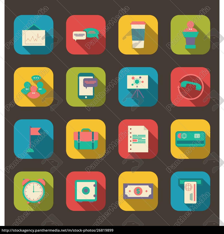 illustration, flache, symbole, von, finanzdienstleistungsartikeln, business, management - 26819899