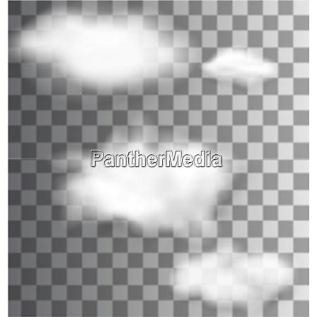 illustration set fluffy transparent clouds