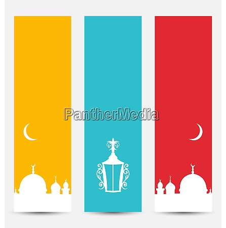 illustration set colorful banners with symbols