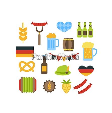 vector set with oktoberfest elements illustration
