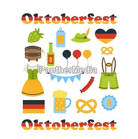 illustration oktoberfest colorful symbols isolated on