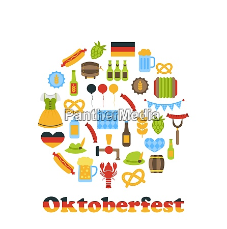 illustration oktoberfest colorful symbols in round