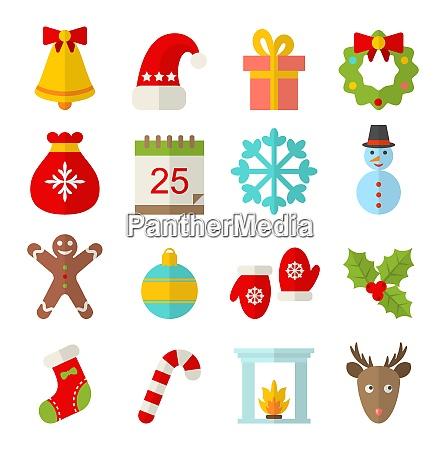 illustration weihnachten und winter traditionelle symbole