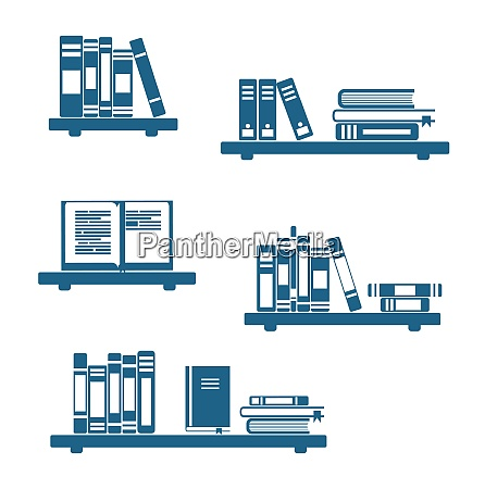 illustration books on bookshelves isolated on