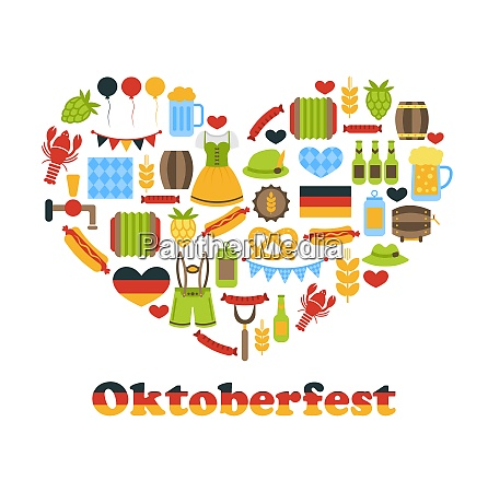 illustration heart made in oktoberfest colorful