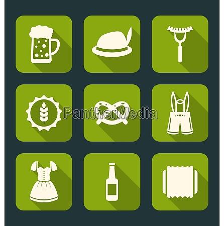 illustration icons of oktoberfest traditional elements