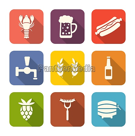 illustration set colorful icons of beers