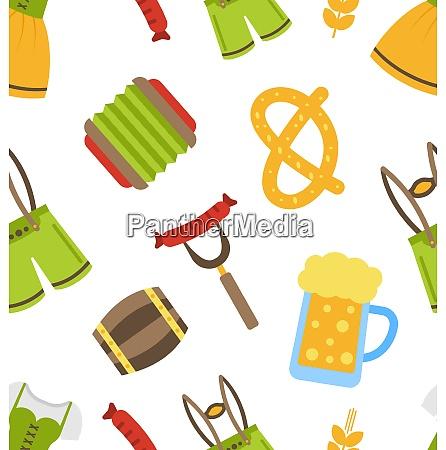 illustration seamless pattern with oktoberfest symbols