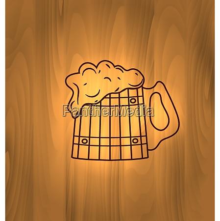 oktoberfest illustration becher bier mit schaum