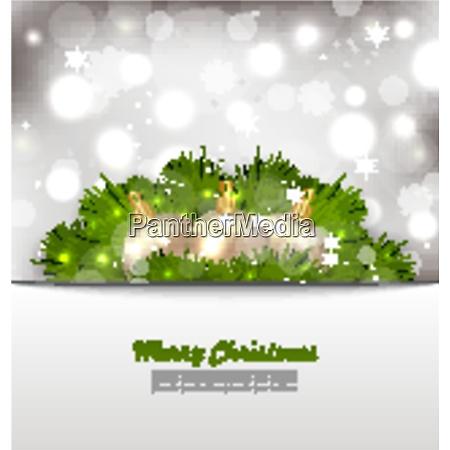 illustration frohe weihnachtskarte mit tannenzweigen und
