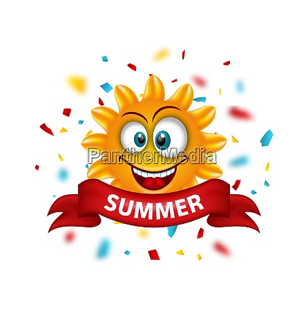 summer banner with cartoon smiling sunny