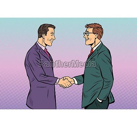 kaukasische geschaeftsleute maenner handshake
