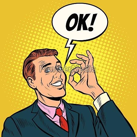 ok, man, businessman., hand, gesture, okay. - 26825570