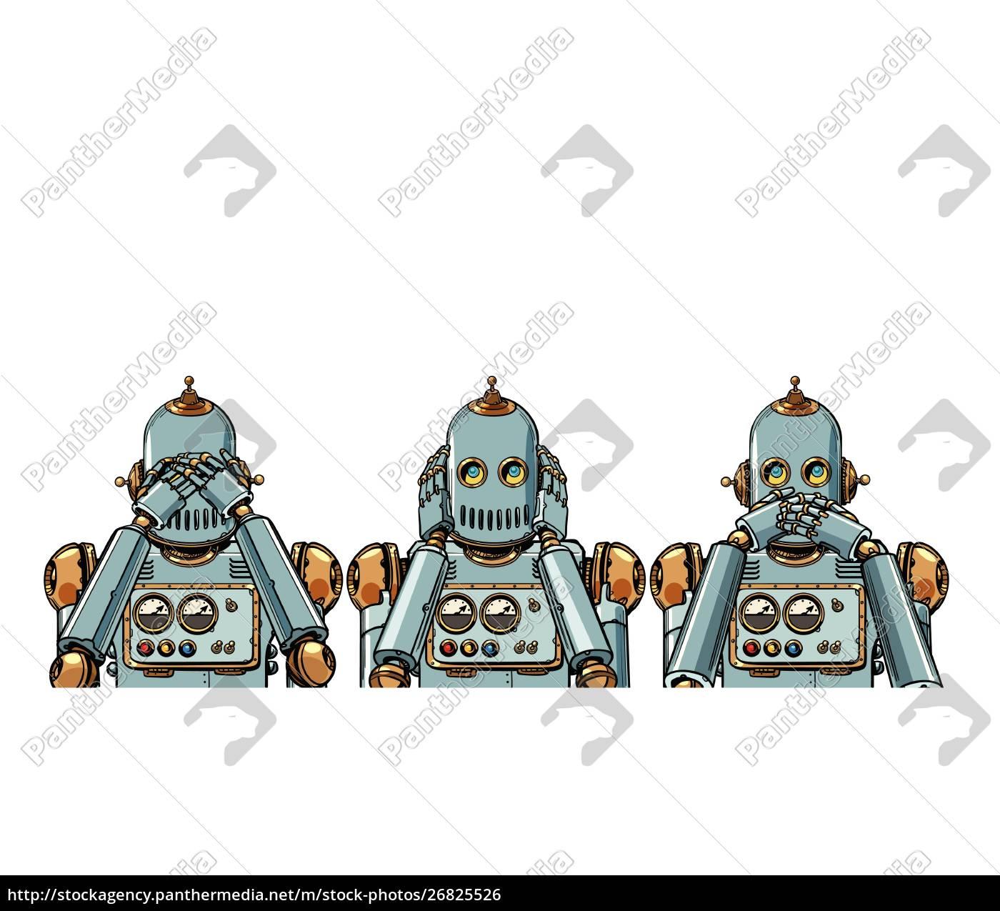 roboter., ich, sehe, nichts, höre, nichts, sage, nichts - 26825526