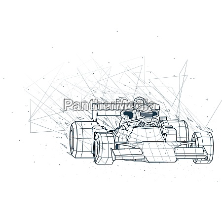 abstrakte formel 1 low poly drahtrahmen