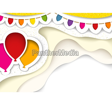 party balloons with decorations in cut