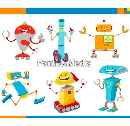 cartoon cheerful robots characters set