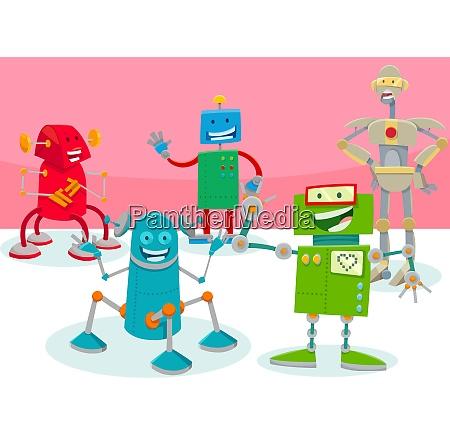 happy robot characters group cartoon illustration