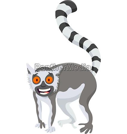 funny lemur cartoon animal character