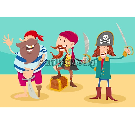 fantasy pirate characters cartoon illustration