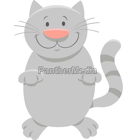 happy gray cat cartoon animal character
