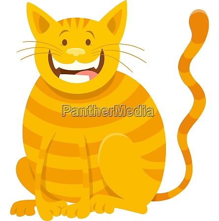 happy yellow cat cartoon animal character