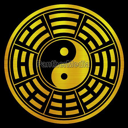 yin yang chinese metallische goldene illustration