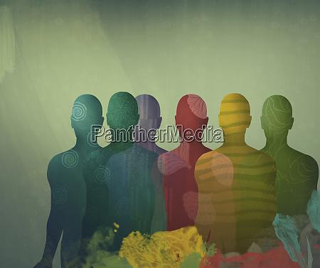 UEberlappende verschiedene farbige maennliche silhouetten