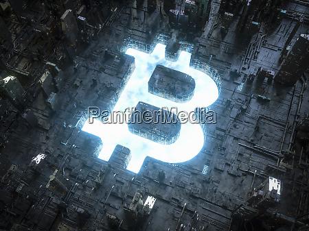 blaues himmel bitcoin symbol leuchtet in