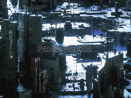 futuristisches technologiestadtbild