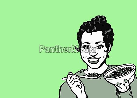 froehliche frau isst gesundes getreide