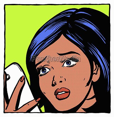 woman reading bad news on phone