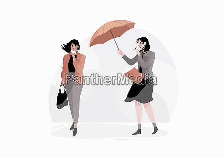 women outdoors with colds on windy